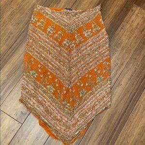 Anthropologie Sequin Orange V cut Skirt Floral